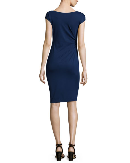 CAP SLV DRAPE NECK DRESS