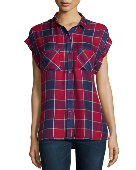 Britt Cap-Sleeve Woven Plaid Shirt, Crimson/Dusk