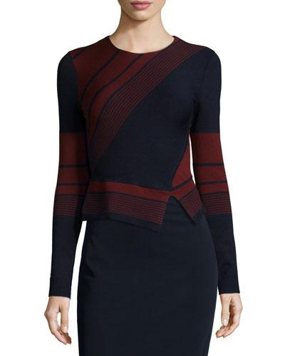 Long-Sleeve Striped Peplum Sweater