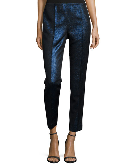 Lafayette 148 New York Metallic-Front Skinny Pants, Delft Multi