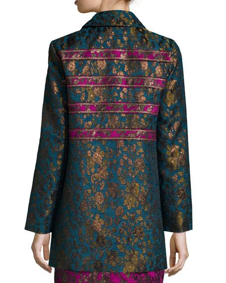 Button-Front Floral Jacquard Coat