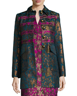 Button-Front Floral Jacquard Coat