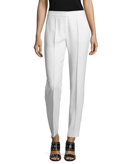 Tory Burch Slim-Leg Suiting Trousers, Ivory