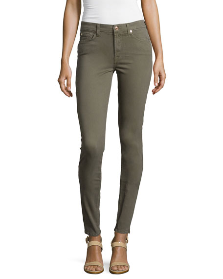 7 For All Mankind Mid-Rise Skinny Jeans, Fatigue