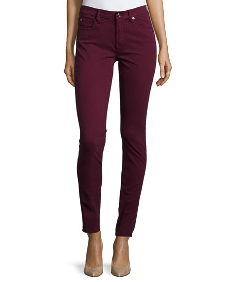 7 For All Mankind Mid-Rise Skinny Jeans, Dark Ruby Red