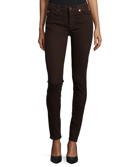 7 For All Mankind Mid-Rise Skinny Jeans, Dark