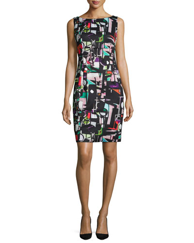 Cubist-Print Sheath Dress