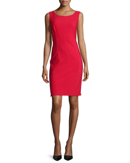 Milly Sleeveless Sheath Dress W/ Side Zips