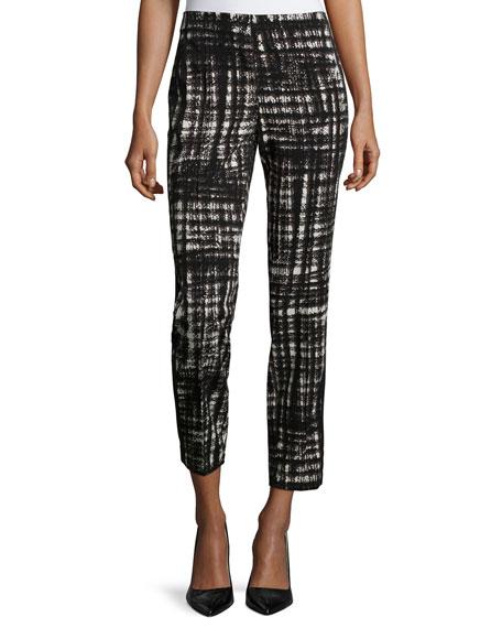 Lafayette 148 New York Slim-Leg Pants W/Side Stripe, Black Multi