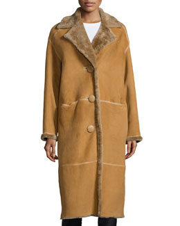 Audrina Shearling Fur Long Coat, Butterscotch