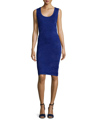 Sleeveless Back-Cutout Sheath Dress, Cobalt