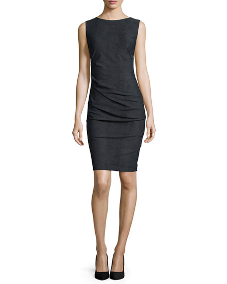 Nicole Miller Artelier Sleeveless Body-Conscious Ruched Sheath Dress