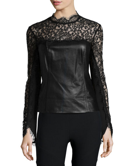 Nicole Miller Artelier Long-Sleeve Mixed-Media Top