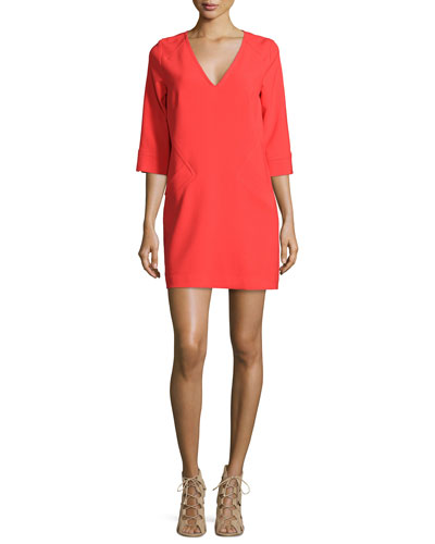 3/4-Sleeve V-Neck Shift Dress