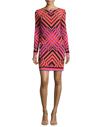 Long-Sleeve Geometric Sheath Dress, Black/Pink
