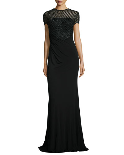Short-Sleeve Beaded Bodice Gown