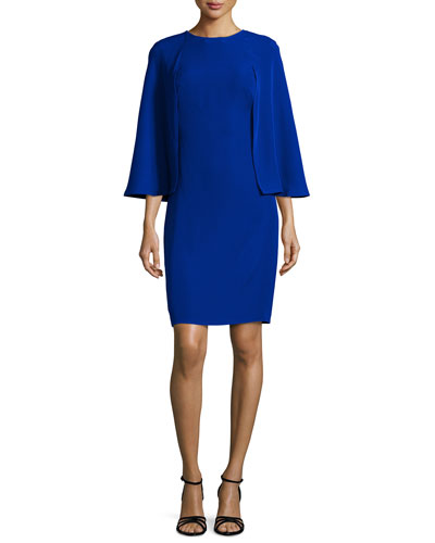Cape-Sleeve Sheath Dress, Mystic Blue
