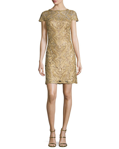 Short-Sleeve Filigree Lace Cocktail Dress