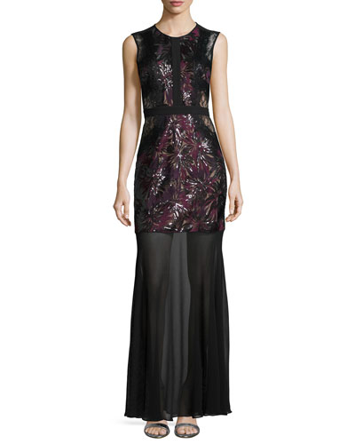 Sleeveless Sequined Gown W/ Sheer Skirt