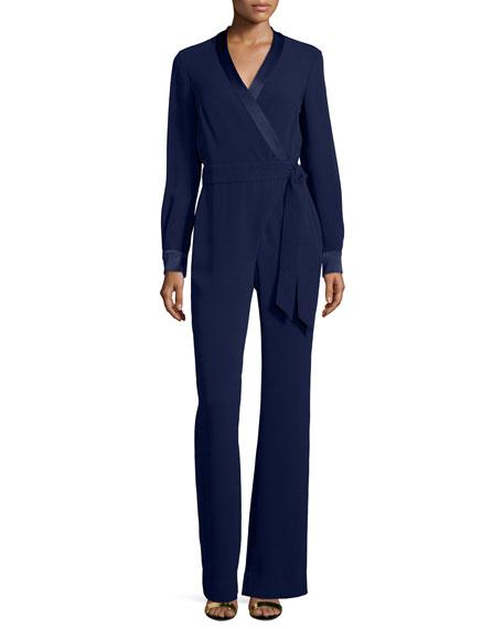 Diane von Furstenberg Long-Sleeve Margot Wrap-Style Jumpsuit,