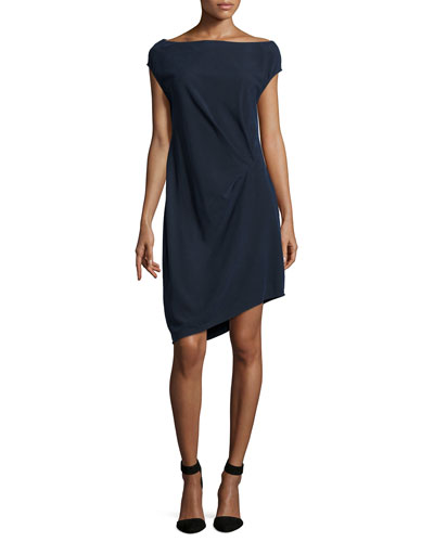 Cap-Sleeve Asymmetric-Hem Dress, Dark Navy