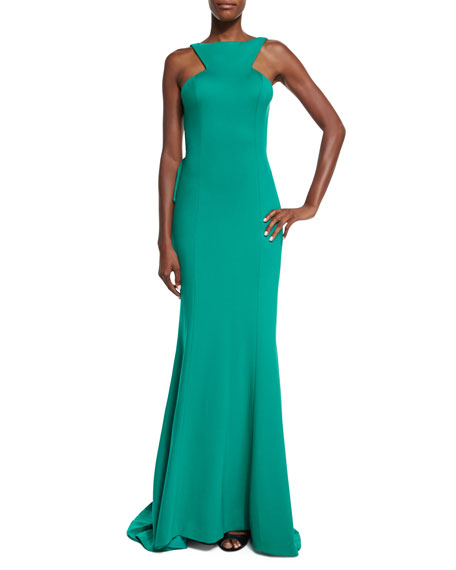 Jovani Sleeveless Ruffled Open Back Gown