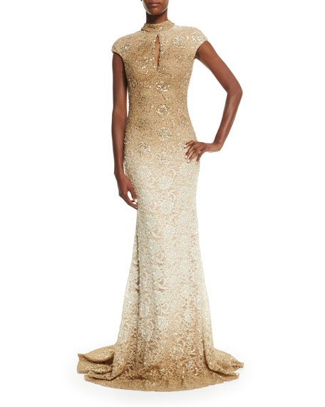 Cap-Sleeve Sequined Lace Gown
