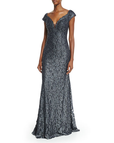 Cap=Sleeve Lace Mermaid Gown