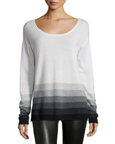 Long-Sleeve Ombre Cashmere Top