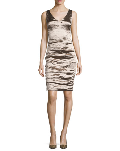 Sleeveless V-Neck Ruched Cocktail Dress