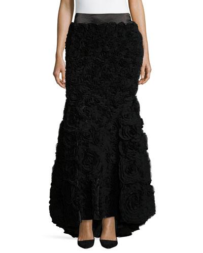 Long Mermaid Skirt W/Train, Black