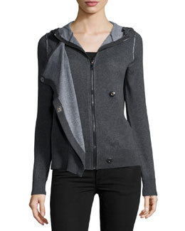 Long-Sleeve Hooded Sweatshirt, Charcoal/Heather Gray