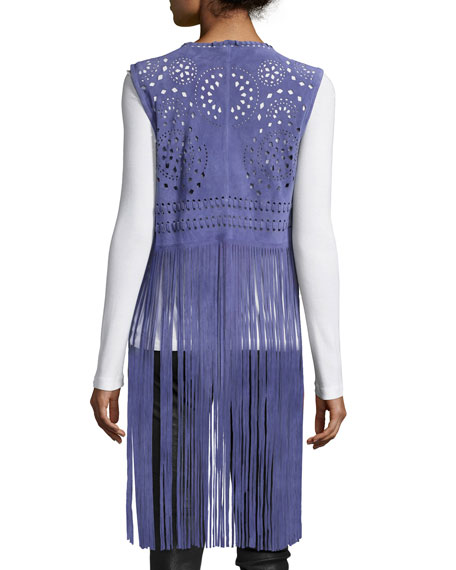 Perforated Suede Vest W/Fringe, Blue