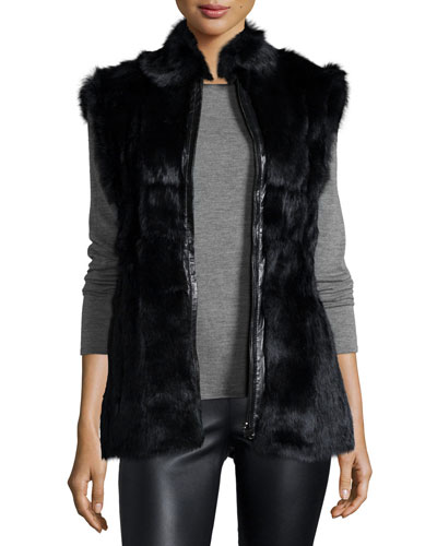 Reversible Zip-Front Fur Vest, Black