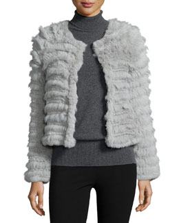 Long-Sleeve Rabbit-Fur Jacket, Silver Gray