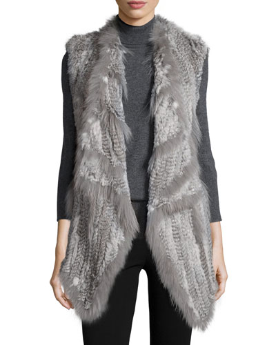 Rabbit/Coyote-Fur Long Vest, Gray Multi