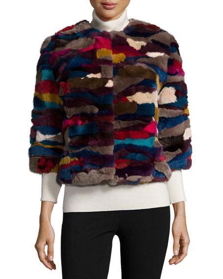 3/4-Sleeve Patchwork-Fur Jacket, Multi Colors