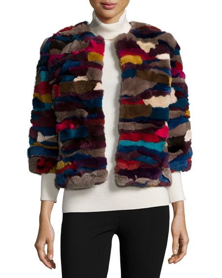 Cusp by Neiman Marcus 3/4-Sleeve Patchwork-Fur Jacket, Multi