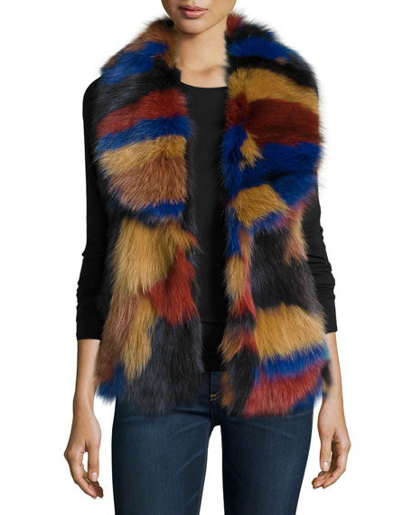 Bagatelle Fox-Fur Patchwork Vest, Multi Colors