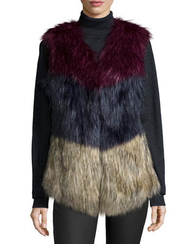 Colorblock Faux-Fur Vest, Multi Colors