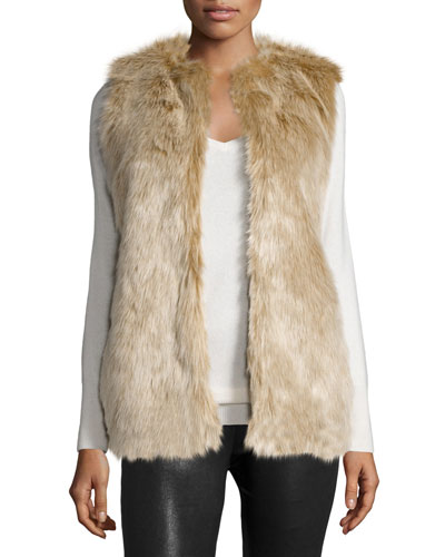 Open-Front Faux-Fur Vest, Tan