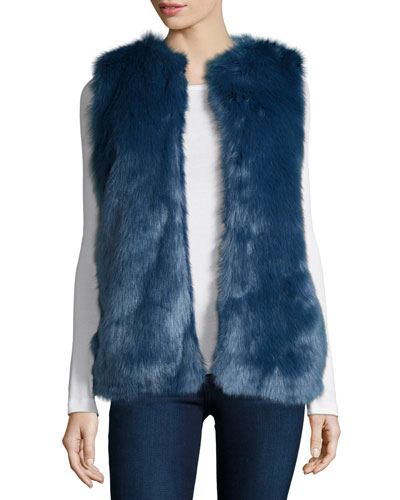 Open-Front Faux-Fur Vest, Blue