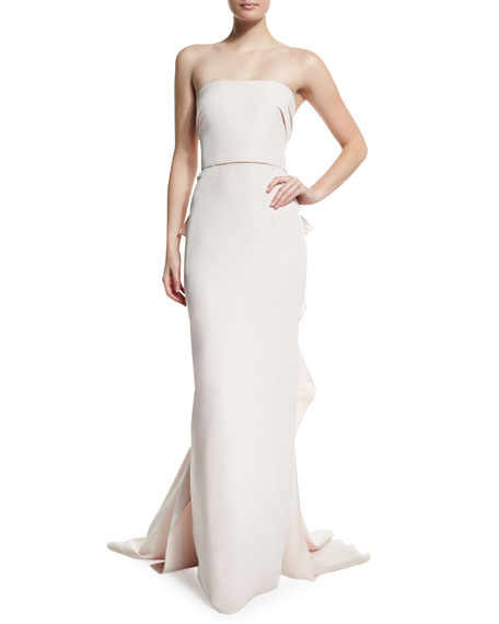 Strapless Column Gown W/Ruffled Back, Blush