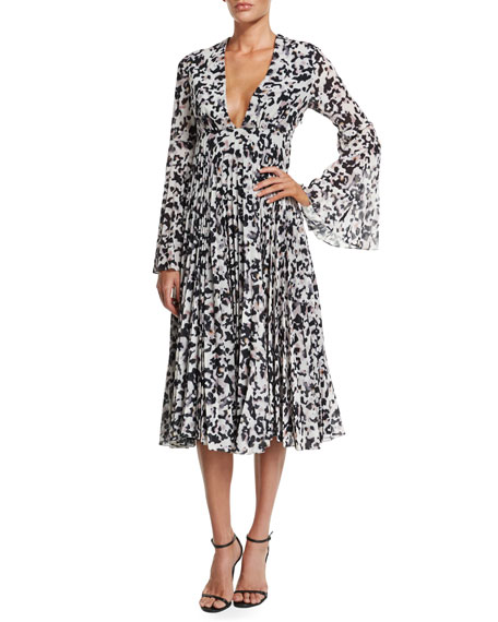 Camilla and Marc Long-Sleeve Pleated Midi Cocktail Dress
