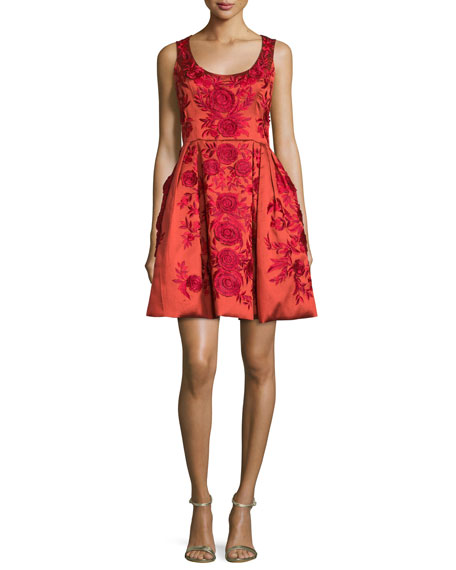 Marchesa sleeveless floral embroidered cocktail dress red