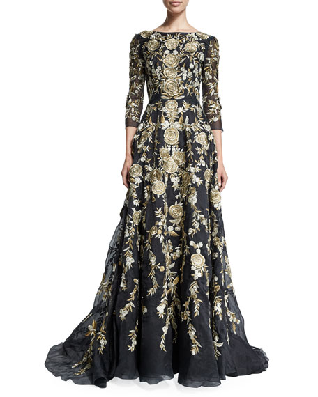 3/4-Sleeve Floral-Embroidered Ball Gown, Black