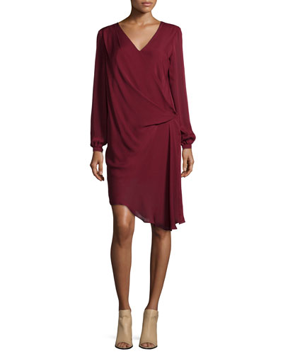 Long-Sleeve Dress W/Side Tuck, Merlot
