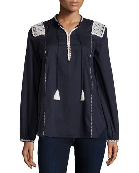 Figue Martine Long-Sleeve Embroidered Top, Midnight Navy