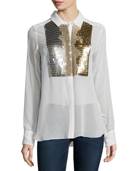 Figue Emmanuelle Embellished Tuxedo Shirt, Indigo