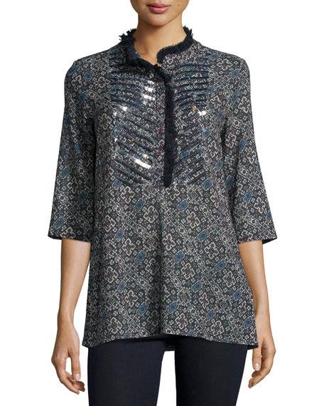 Figue Jasmine Embellished Tunic, Navy Mosaic Jewel